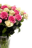 Beautiful bouquet of roses in vase — Stock Photo
