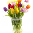 Colorful Dutch tulips in vase — Stock Photo