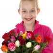 Girl with bouquet of colorful roses — Stock Photo