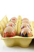 Decorated chicken eggs — Stock Photo