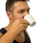 Man drinks his coffee — Stock Photo