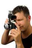Man with old fashioned camera — Foto Stock