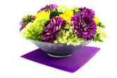 Bowl with dahlia arrangement — Stock Photo