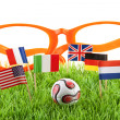 Flags and ball on soccer field — Stock Photo #3042401