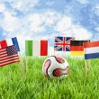 Flags and ball on soccer field — Stock Photo