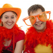 Stock Photo: Two Dutch soccer fans