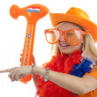 Stock Photo: Soccer supporter with blown up hammer