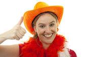 Ženské nizozemský fotbalový fanoušek — Stock fotografie
