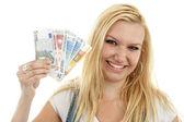 молодая женщина с евро деньги — Стоковое фото