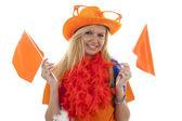 Vrouwelijke Nederlandse voetbal fan — Stockfoto