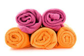 Rolls of colorful towels — Stock Photo