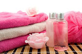 Pink bathroom and spa accessory — Stock Photo