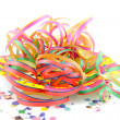 Colorful party streamers and confetti - Foto Stock