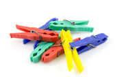 Colorful plastic clothespins — Stock Photo