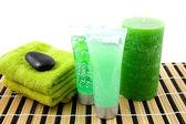 Green colored bathroom accessory for spa — Stock Photo