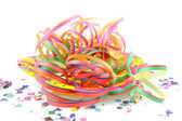 Colorful party streamers and confetti — Stock Photo