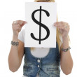 Woman is holding a dollar mark — Stock Photo