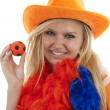 Female Dutch soccer fan — Stock Photo #3082525