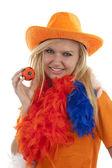 Kadın hollandalı futbol fan — Stok fotoğraf