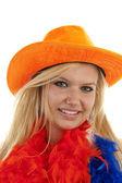 Female Dutch soccer fan — Stock Photo