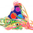 Colorful party hat with streamers — Stock Photo