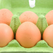 Six chicken eggs - Stockfoto