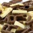 White and brown chocolate candy letters in close — Stock Photo #3210357