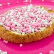 Rusk with pink mice — Stock Photo