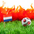 Ball and flag on soccer field — Stock Photo #3214437