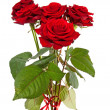 Bouquet of red roses with ribbon - Stock Photo