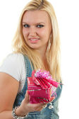 Woman with present — Stock Photo