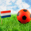 Orange ball and Dutch flag on soccer field - Stockfoto