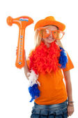 Female Dutch soccer fan — Stock Photo