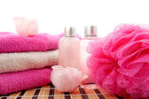 Pink spa bathroom accessory — Stock Photo
