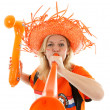 Dutch soccer supporter with orange vuvuzela — Stock Photo