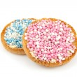 Rusk with blue and pink mice — Stock Photo