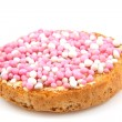 Rusk with pink and white mice - Stock Photo