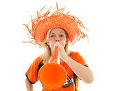 Dutch soccer supporter with orange vuvuzela — Stock Photo