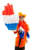 Dutch soccer supporter with plastic hand — Stok fotoğraf