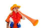 Dutch soccer supprter with plastic vuvuzela — Stock Photo