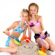 Two young girls in beach wear — Stock Photo