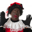 Surprised Zwarte piet ( black pete) typical Dutch character — Stock Photo #3482019