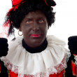 Happy Zwarte piet ( black pete) typical Dutch character — Stock Photo