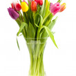 Bouquet of Dutch tulips in vase — Stock Photo