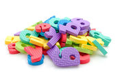 Stack of colorful foam letters — Stock Photo