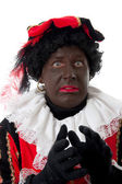 Scared Zwarte piet ( black pete) typical Dutch character — Stock Photo