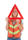 Woman in safety vest — Stockfoto
