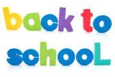 Zin terug naar school in kleurrijke schuim brieven — Stockfoto