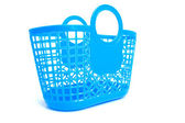 Blue plastic shopping bag with holes — Stock fotografie