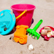colorful plastic beach toys — Stock Photo